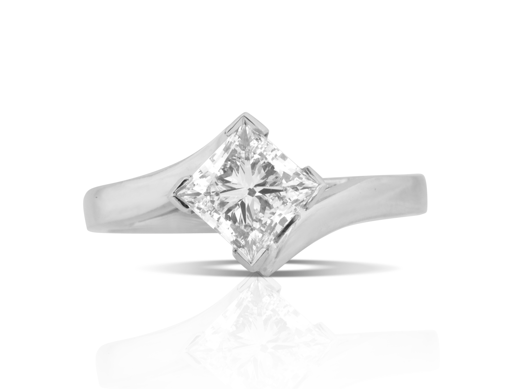 DJCPRS003 – 1 5ct Platinum Princess Diamond Engagement Ring — Diamond Brokers