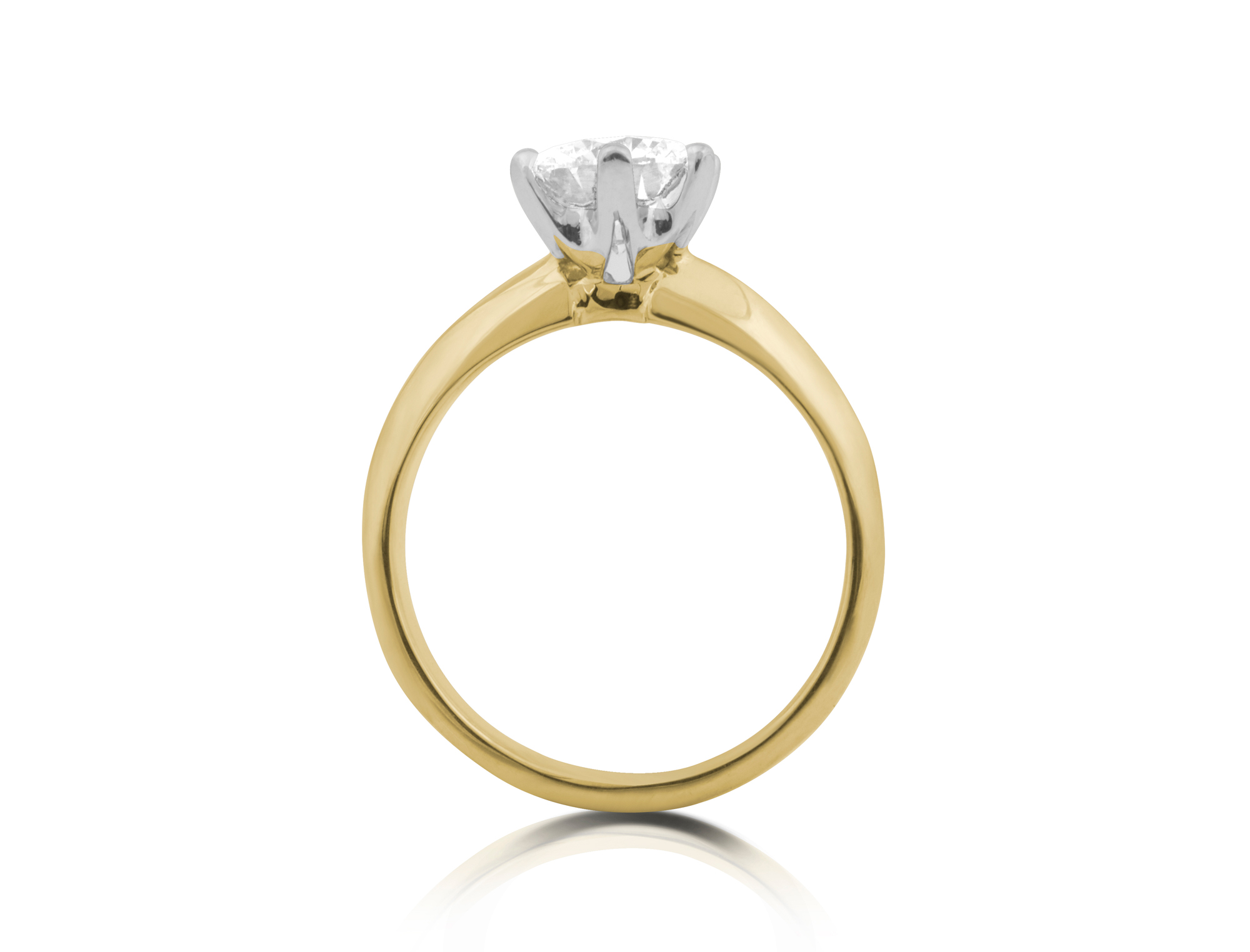 DJCRDS006 – 18ct Yellow & White Gold Tiffany Style 6 Claw Classic Engagem