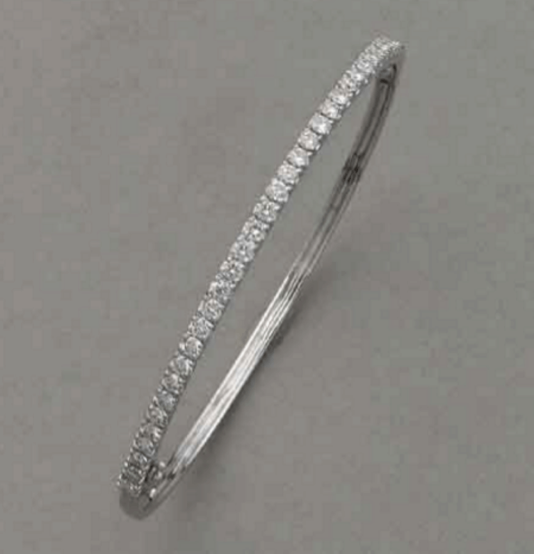 18ct white gold claw set hinged bangle with 36=1.62ct round white diamonds