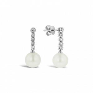 18ct white gold drop earrings with 10 = 0.15ct HI/SI round brilliant cut diamonds and 8mm white South Sea Pearls