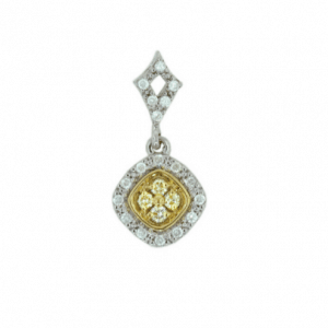 18ct yellow and white gold diamond set pendant with square shape halo and open diamond set bail