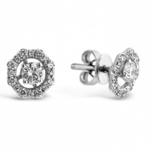18ct white gold round diamond stud earrings with octagonal detachable enhancers