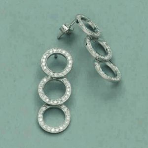 White gold diamond set circle drop earrings
