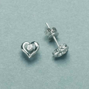 white gold open heart stud earrings with a single 0.02ct bezel set diamond