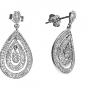 18ct white gold triple tear diamond halo earrings