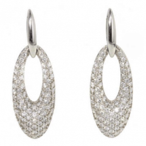White gold pave set diamond tapered loop shape earrings
