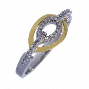 18ct yellow and white gold open eye claw diamond dress ring