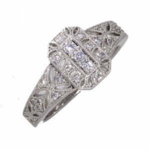 18ct white gold diamond set vintage millgrain dress ring
