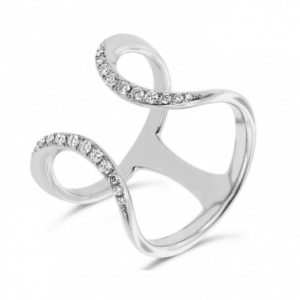 18ct white gold open wave diamond set dress ring with spacer bar