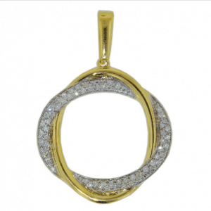 18ct white gold graduated claw set diamond circle pendant