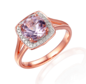 9ct Rose Gold split band square halo style dress ring with a round pink Amethyst and diamond h