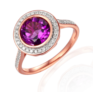 9ct Rose Gold Amethyst and diamond round halo style dress ring