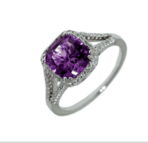 9ct white gold cushion cut amethyst in a split band halo dress ring