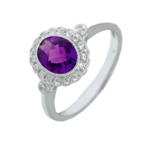 9ct white gold oval amethyst and diamond cluster style dress ring
