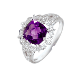 9ct white gold checkerboard amethyst and diamond designer dress ring
