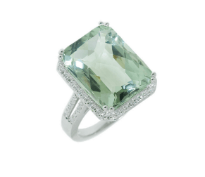 9ct white gold emerald cut green quartz and diamond halo style dress ring