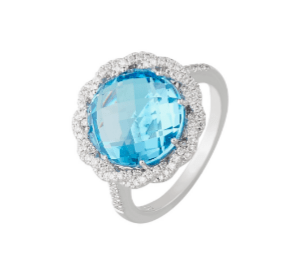 9ct white gold round checkerboard blue topaz and diamond braided halo dress ring