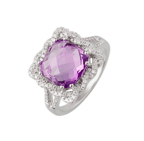 9ct white gold cushion checker board amethyst ring with a square braided diamond halo