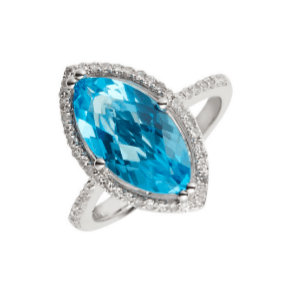 9ct white gold marquise cut blue topaz ring with a diamond set halo