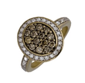 9ct yellow gold flower shaped designer dress ring with fancy brown and white diamonds