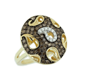 9ct yellow gold oval shape paisley pattern fancy brown and white diamond dress ring
