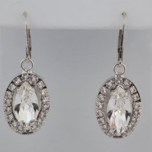 Stunning Marquise crystal sterling silver earrings