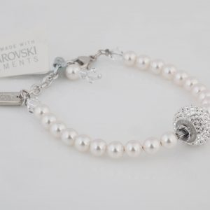 Crystal and white pearl charm bracelet, fitted with Swarovski elements