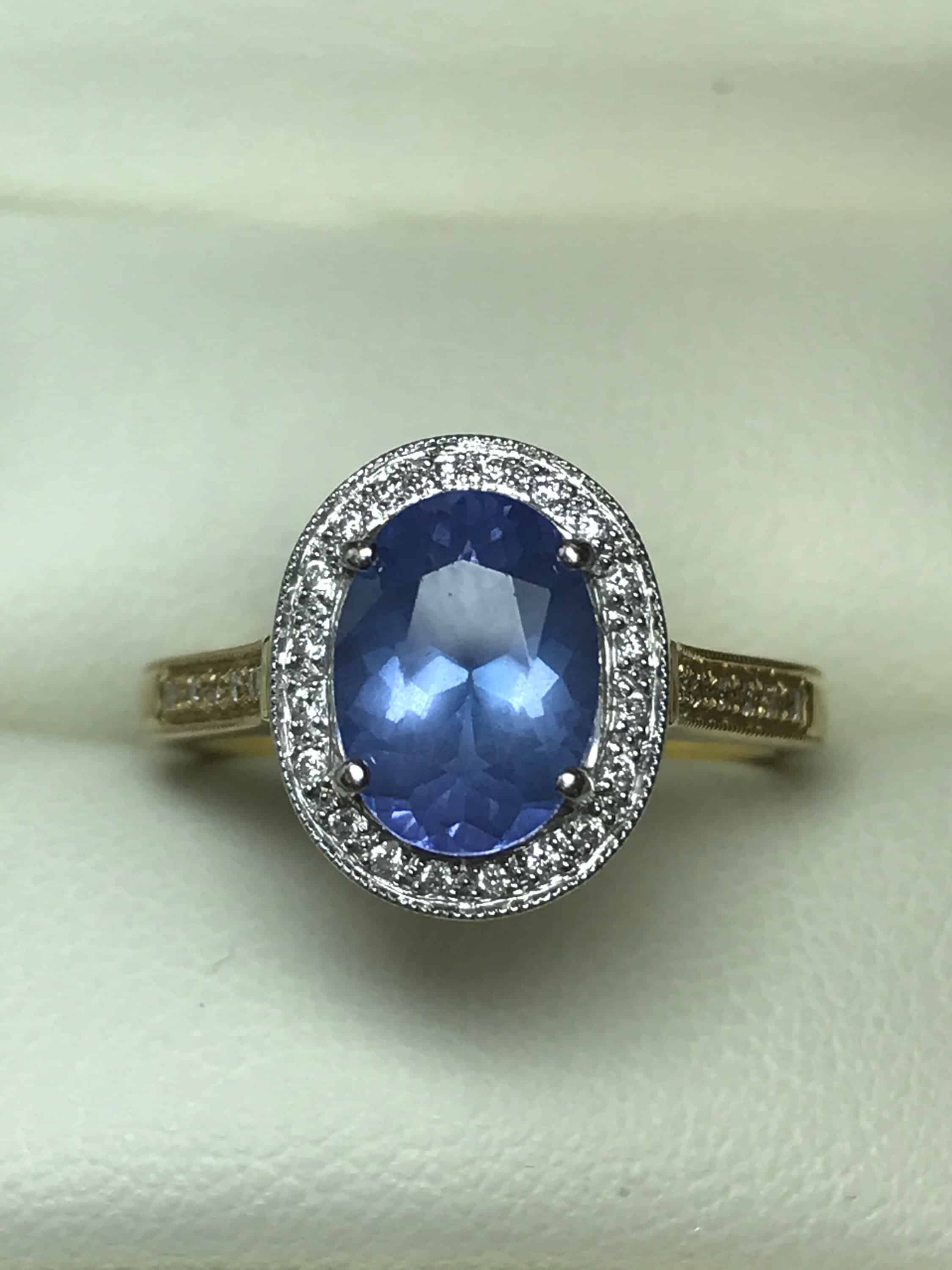 tanzanite ring gold with center stone grams cut diamond princess l white